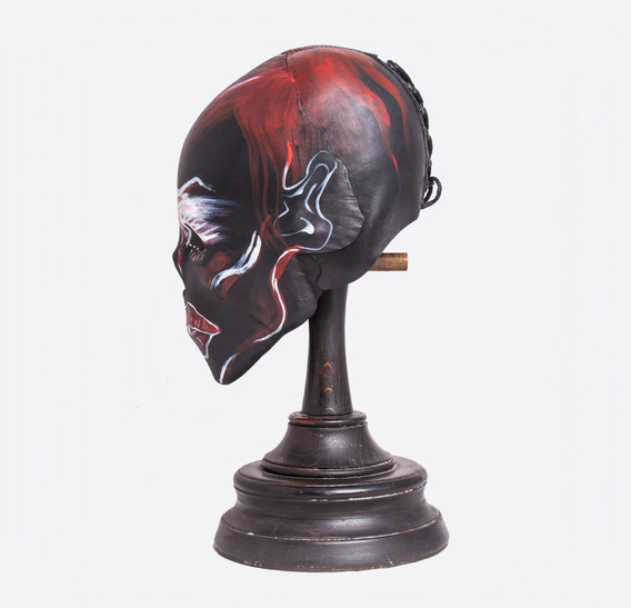 Black Skull Mummy Art Leather Mask 2 hand-painted by ALINA ZAMANOVA