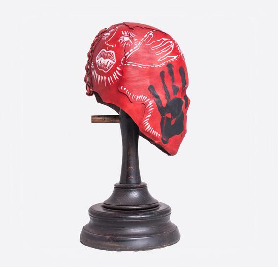 Red Skull Mummy Art Leather Mask hand-painted by ALINA ZAMANOVA