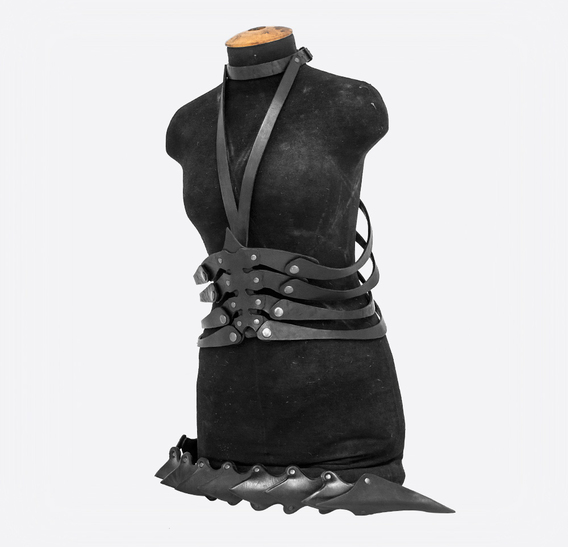 Black Dragon Spine Belt with Tail