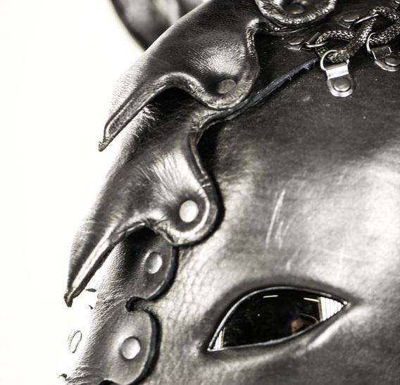 Black Pegasus art Leather Horse Pony Mask