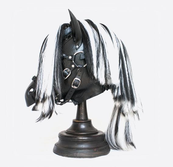 Black&White Horse Pony Mask with Bridle
