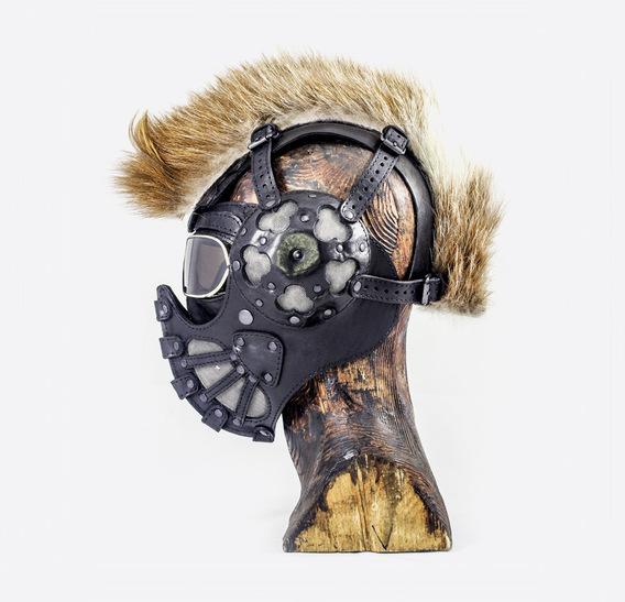 Black Mohawk Art Leather Mask