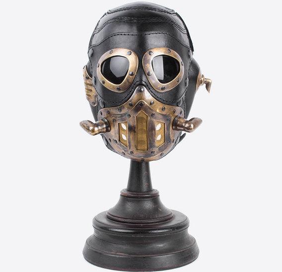 Black Steampunk Art Leather Gas Mask