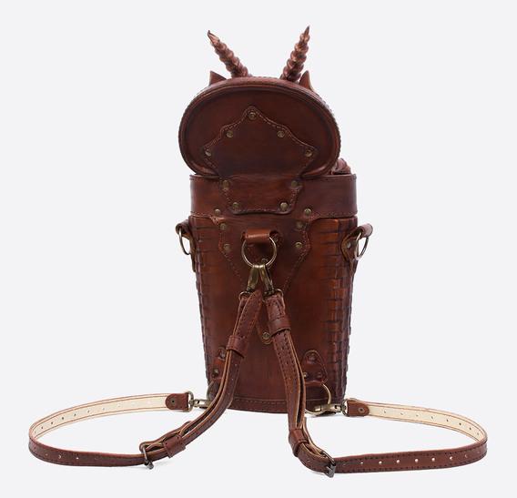 Brown Dragon In Basket Leather Bag-Backpack