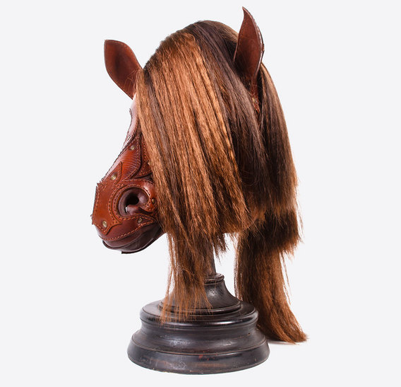 Brown Leather Horse Pony Mask with Application