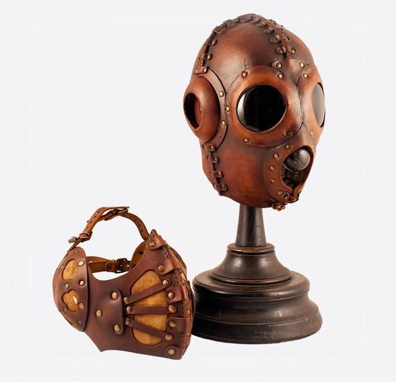 Brown Pilot 4 Art Leather Steampunk Gas Mask
