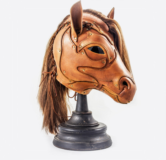 Ginger Leather Horse Mask with Applcation