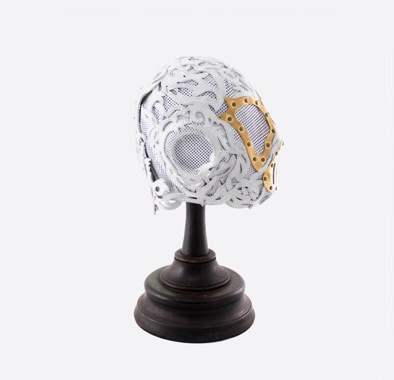 White Lace Steampunk Leather Art Gasmask 2
