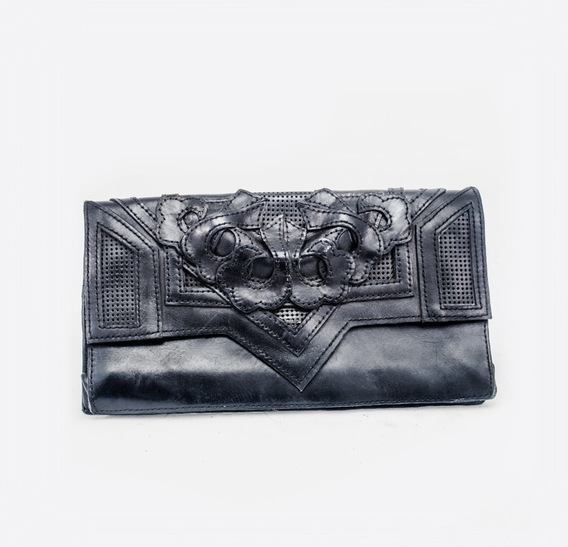 Mashrabiya Black Leather Clutch