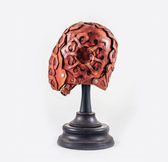 Mashrabiya Light Brown Art Leather Mask 1