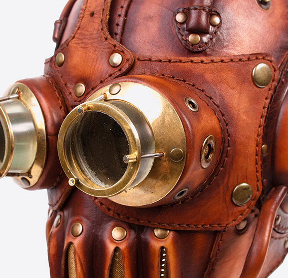 Mask & Glasses Steampunk art leather Gas Mask