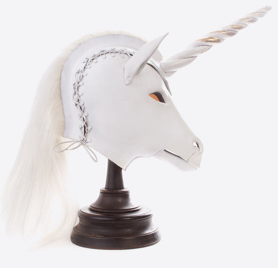 White Unicorn Art Leather mask