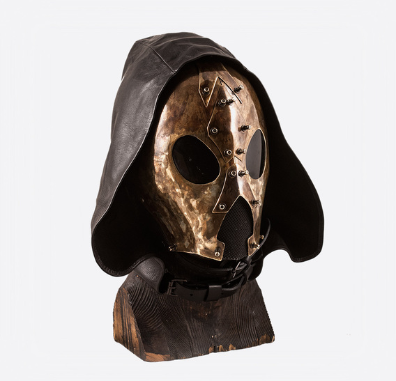 Hooded Ant Brass art Leather Gas Mask