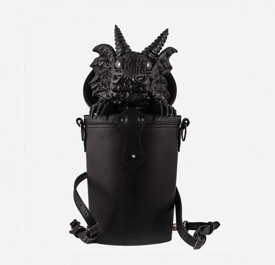 Black Dragon in Trunk Leather Bag-Backpack