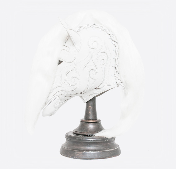 White Leather Horse Pony Mask with Application