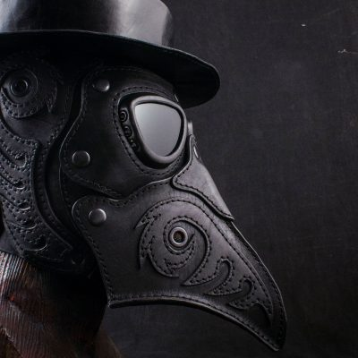 Plague Doctor Art Leather Mask with Hat